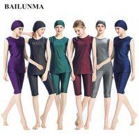 Bailunma Costumi da bagno Donna Burkinis Modest Abbigliamento ISLAMICA Musulmano ISLAMICA Pantaloni Solid Color Pants Pantaloni Pantaloni M037