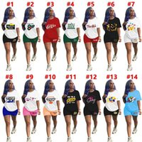 여성 Tracksuits 패션 요가 정장 두 조각 세트 스포츠웨어 캐주얼 솔리드 컬러 인쇄 옷 짧은 소매 반바지