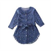 Toddler Mavi İnci Ilmek Denim Kız Elbiseler Kot Bebek Uzun Kollu T Gömlek Elbise Çocuk Ceket Giysileri