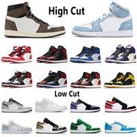 Nike air jordan 1 Low Basketball Shoes 1s chaussures de basket-ball haut Og cour orteil noir violet hommes SP Travis Scotts femmes Eur 36-46 sans boîte