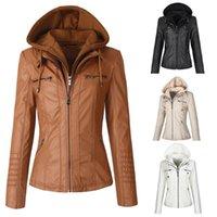 Faux Leather Jacket Women 2021 Hoodies Gothic Motorbike Basic PU Jackets Coats Outerwear Hooded Zipper Waterproof Ladies Women's