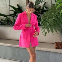 Women's Suits & Blazers Women Vintage Sashes Front Pockets Jacket Dress Long Sleeve Sexy V Neck Sheath Office Lady Suit 2021 Autumn Outerwea
