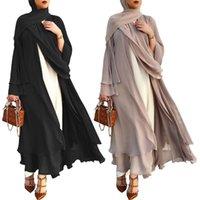 Vêtements ethniques Musulman Manches longues à manches longues Maxi Cardigan Islamic Open Open Front Kimono Abaya Robe Turquie Kaftan Couleur Solide Robe lâche