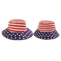 İlkbahar Yaz Ebeveyn-Çocuk Balıkçı Şapka Amerikan Bayrağı Baskılı Çocuk Şapkalar Bebek Bebek Erkek Kız Çocuklar için Kova Kap Güneş Şapkalar G69U8IQ