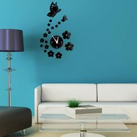 Wall Clocks 3D Fashion DIY Mirror Stickers Automatic Mechanical Movement Clock Butterfly Flying Alloy
