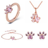 Newest Arrival Cute Bear Paw Dog Cat Claw Rose Gold Pendant Necklace Bracelet Ring Earring Set for Women Romantic Wedding Pink CZ Love Footprint Necklaces