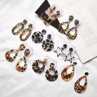 Acrylic Leopard Hoop Earrings For Women Statement Korean Geometry Big Dangle Drop Earring Ladies Party Ear Jewelry