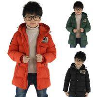 Jocestyle engrossar crianças mornas crianças meninos bolsos de manga comprida encapuçado inverno para baixo casaco Dropshipping P0830