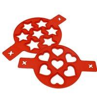 Kreatives rotes Silikon-Sieben-Loch-Omelett-Werkzeug-Frühstück-DIY-Kuchen-Formküche Backen-Zubehör bequem und praktisch