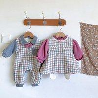 Clothing Sets Fashion Girls Clothes Set Baby Infants Boys Kids Children Winter Velvet Plaid Romper Coat+Leggings ADK474