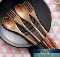 Spoons 2pcs Wooden Spoon Salad Fork Set Wood Kitchen Utensils Long Handle Soup Tableware Dinnerware Cutlery For Kitchen1 Factory price expert design Quality Latest