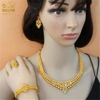 ANIID African Jewelry Set Big Necklace Dubai Ethiopian Gold Jewelery Sets Earring Bracelet For Women Bridal Choker Jewelrl
