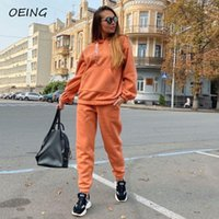 Gym Clothing 2021 Exercise Two Piece Tracksuit Sets For Women Sweat Hoodies And Pants Loose Sport Wear Jooging Suits