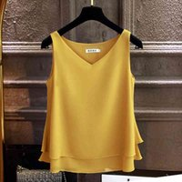 2020 패션 브랜드 여성 블라우스 탑스 여름 민소매 쉬폰 셔츠 솔리드 V 넥 캐주얼 블라우스 플러스 사이즈 5XL 느슨한 여성 T200321