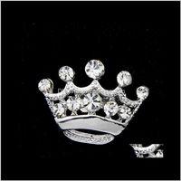 핀, 드롭 배달 2021 패션 시어 톤 클리어 크리스탈 크라운 브로치 맨 여성 라인 석 Diamante Pins 웨딩 쥬얼리 브로치 COR 유머