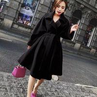 Women's Wool & Blends Long Blend Vintage Woman Coat Overcoat Fashion Korean Winter Warm Mujer Office Belt Jacket Fuchsia Ukraine