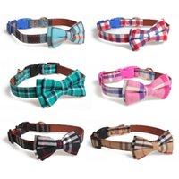 S M L Classic Lattice Bow Tie Cat Dog Kitten Collar Pet Puppy Clothes Bowtie Necktie Wedding Party Supplies Multi Colors