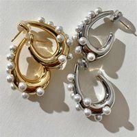Hoop & Huggie AOMU Autumn S925 Retro Fashion Geometric Irregular Gold Silver Color Arc-shaped Metal Pearl Earrings For Women Gifts
