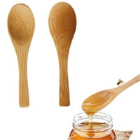 Mini Bamboo Spoon Honey Dippers Teaspoon Ice Cream Scoop Small Spoons For Sugar Seasoning Salt Wedding Favors 9cm 3.54in XBJK2107