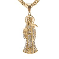 """Heavy gold tone Cz Men's Stainless Steel Large Gothic Grim Reaper Death Pendant Necklace, 24"""" Wheat Link Chain 8mm width H0918"""