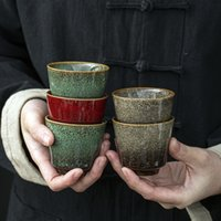 LUWU Seramik Çay Fincanı Renkli Porselen Çay Kupası Çin Kung Fu Cup 110 ml