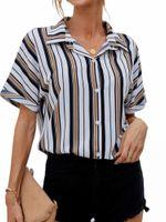 Women's Blouses & Shirts Autumn Women Striped Color Lapel Shirt Loose Casual Vertical Turn Down Collar Blouse Top 2021