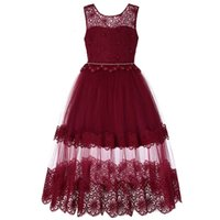 Baby Girl Princess Dress Gauze Lace Bow bordado Backless Tutu Full Kids Ropa S ES 4-13T 07
