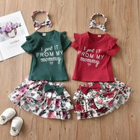 Clothing Sets 1-3Y Toddler Summer Baby Girls Ribbed Letter Print Sleeve T-shirt Floral Tiered Skirt Headband 3pcs Outfit