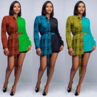 2021 Femmes Contraste Contraste Couleur Écran à rayures Turn Collier Blouses Bureau Dames Simple Brotteux Y2K Chic Blusas Tops