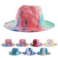 جديد التعادل صبغ فيدورا القبعات الصوف واسعة بريم كاب الدفء طوي الرجال الحرير قبعة النساء الجاز قبعات أزياء الخريف الشتاء نمط EWB7533