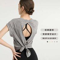 Lulu nuevo temperamento secado rápido ropa deportiva camiseta moda yoga sexy back top top net rojo fitness ropa mujeres