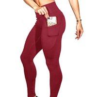 럭셔리 디자이너 요가 의류 유럽 및 미국 뜨거운 단단한 컬러 휴대 전화 포켓 스트레치 요가 엉덩이 높이 높은 허리 레깅스 인상