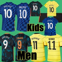 # 9 Lukaku # 10 Pulisic Home Azul Futebol Jerseys 2021/2022 Away Yellow # 11 Werner # 19 Mount Soccer Shuts 21/22 # 29 Havertz # 7 Kante 3rd Manga Curta Futebol Uniformes