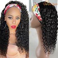 Onda de agua Pelucas para el cabello humano Peruano Rizado Diadema WIG Pelucas para el cabello humano para las mujeres 150% Remy Hair Scarf Wig