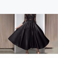 Vintage Tea Length Black Formal Evening Dresses with 3 4 Sleeve Keyhole Back Applique Beads Cheap Mother of the Bride Gowns