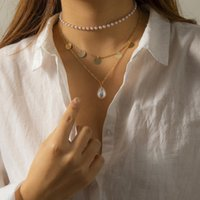 Pendant Necklaces Fashion Imitation Pearl Metal Sequin For Women Bohemia Vintage Jewelry Trendy Multilayer Chain Choker Collares