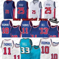 Mens Derrick 25 Rose Jerseys Dennis 10 Rodman Grant 33 Hill Isiah 11 Thomas 2020 2021 Yeni Basketbol Forması Boyutu S-XXL