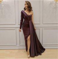 One Shoulder Mermaid Evening Dress Satin Open Back Design Formal Gown Long Sleeve Elegant Lace Appliques Party Dress 2021