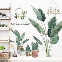 الصبار بوعاء النباتات ملصقات الحائط لغرفة المعيشة صديقة للبيئة ورقة الأخضر diy الشارات الجداريات ديكور المنزل