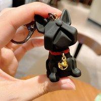 SH002 Silikon Çan Bulldog Köpek Tarzı Anahtarlıklar Reçine Kolye Yaratıcı Çift 3D Sevimli Anahtarlık Zincir 4 Renkler 30 adet