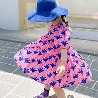 Vestidos de niña Vestidos de verano Vestido de moda Color brillante Flor grande grande Lloja Lindo para vestidos Bebé Niños Ropa infantil