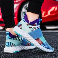 2021 Spring and Summer New Mens Casual Pumps Comfortable Flying Woven High Elastic Breathability Lightweight Sneakers Fashion Tr