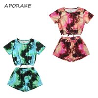 Clothing Sets 2021 4-9Y Casual Kids Baby Girl Set Tie Dye Print Short Sleeve T-shirt Top+Shorts Toddler 2pcs Outfits