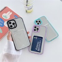 Transparent with Card Slots Protective Cases For iphone 12 MINI 11 Pro X XS MAX XR 8 7 Plus Shockproof 2IN1 Candy Bumper Clear Phone Case Back Cover 100pcs