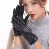 Five Fingers Gloves High Quality Leather Female Fashion Winter Plus Warm Black Women Driving Touch Phone Screen Glove Mittens