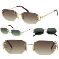 Vendendo Vintage Óculos De Sol Sem Rimes Piccadilly Irregular Diamante Frameless Diamante Corte Lente Óculos Retro Moda Avant-Garde Design UV400 Light Color Decorativo Eyewear