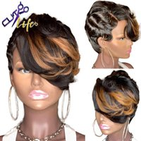 Honey Blonde Highlight Ombre Color Short Wavy Bob Pixie Cut Lace Closure Wig Cheap Human Hair Wigs With Bang For Black Women