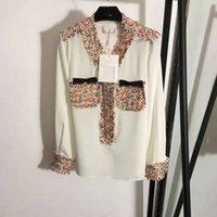 2021 الربيع الصيف العلامة التجارية نفس القمصان نمط أزياء المرأة الملابس طويلة الأكمام الخامس الرقبة الألواح توت قميص الحرير الشيفون faluolan