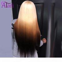 30-Zoll-Knochen-Ombre-farbige menschliche Haarperücken vorgepumpte gerade Spitze Frontperücke Malaysian Virgin HD Full Spitzeperücken für schwarze Frauen