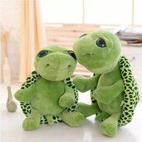 도매 20cm 박제 동물 슈퍼 녹색 큰 눈 거북이 거북이 동물 아이 아기 생일 크리스마스 장난감 선물